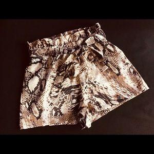 SHEIN Snake Print Paperbag Waist Belted Shorts